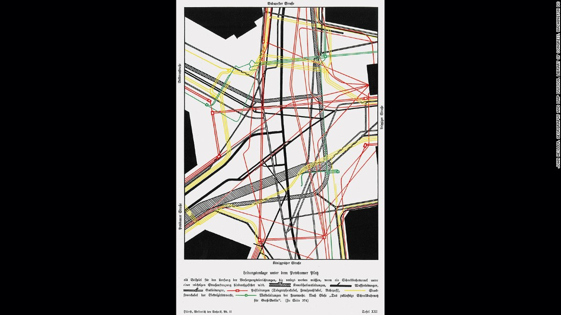 Although meant to show something as pedestrian as the underground infrastructure of Berlin this map was far ahead of its time, both in its design, and also in being one of the first maps to treat the infrastructure of a city as a system of networks. The design of the map highlights one of the keys to successful map construction and which concerns itself with the mapmaker knowing what to leave out. Here we see no labels, text or anything else that might interfere with the perception of the network and spider web structure that the mapmaker was trying to get across to the viewer.