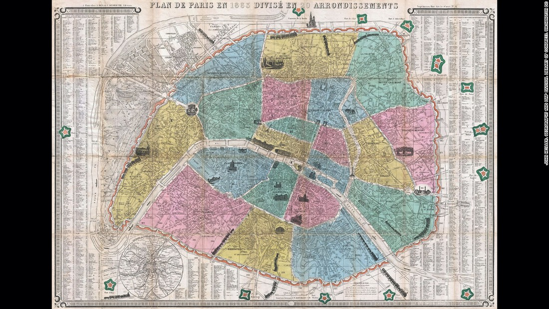 "The images that some maps evoke of the spaces we live in become fixed in the imagination and become part of a location's history. Made by J.N. Henriot just three years after Napoleon III expanded the city's boundaries, it shows the division of Paris into the now well-known twenty arrondissments. The map could be folded and carried in a coat pocket. Arranged in a spiral with four pastel colors the design became known as ""the snail"" and was the model for later ""tourist"" maps made for urban spaces across the globe."