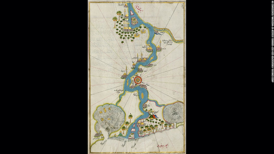 "One of the golden ages of cartography is to be found in the late middle ages and the Renaissance. Here we see a masterpiece of the period from the Ottoman Admiral, Piri Reis. A manuscript map taken from a larger work called, the Book of Navigation, the territory represented is the Nile River as it approaches Cairo, including Rosetta, namesake of the famous stone. Maps like this were extravagant works of art destined to adorn the ""coffee-table"" or bookshelf of a wealthy Renaissance merchant."