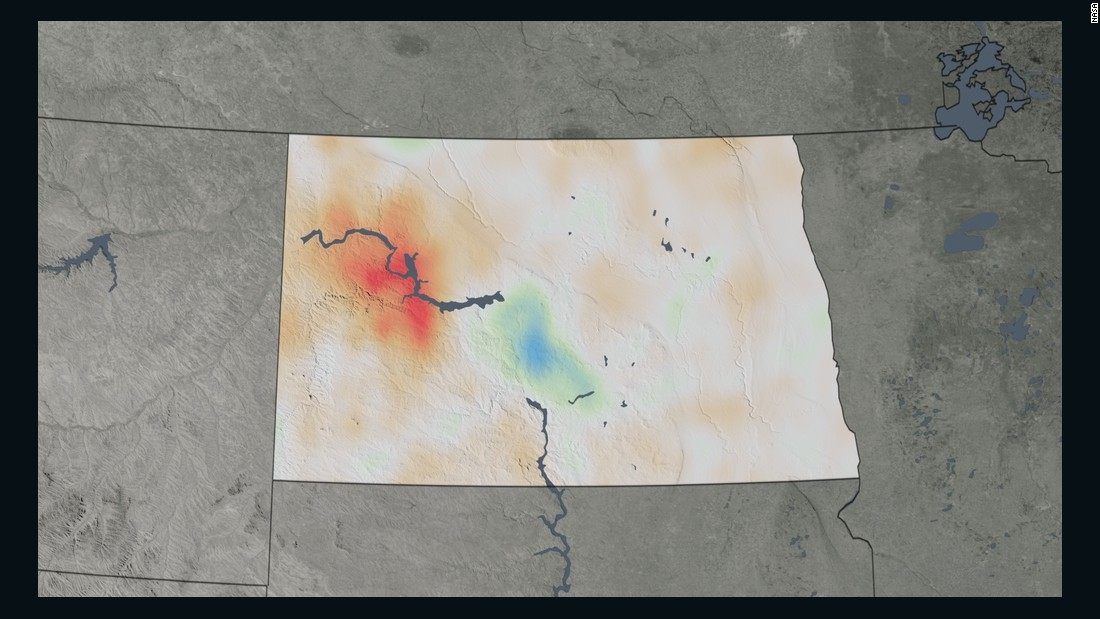 "This trend map for North Dakota shows the percent change in nitrogen dioxide concentrations from 2005 to 2014. To see the data in full, visit the <a href=""https://www.nasa.gov/press-release/new-nasa-satellite-maps-show-human-fingerprint-on-global-air-quality"" target=""_blank"">NASA</a> website."