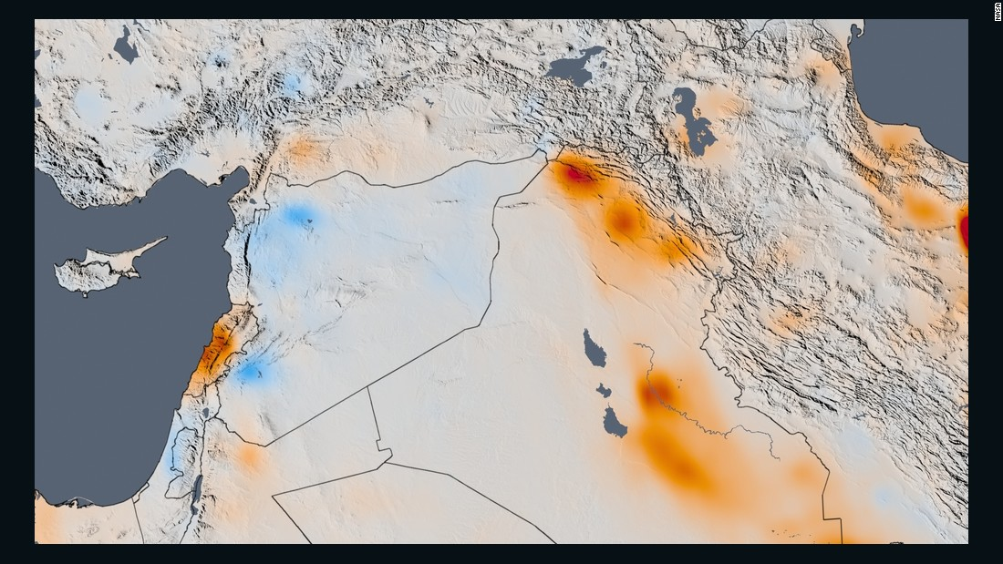"The trend map of the Middle East shows the changes in nitrogen dioxide concentrations from 2005 to 2014.<br /><br />In the Middle East, researchers suggest that the increased nitrogen dioxide levels since 2005 in Iraq, Kuwait and Iran were down to economic growth in these countries. But in Syria, the decrease since 2011 is most likely because of the civil war which began in that year, and has since left <a href=""http://edition.cnn.com/2015/10/08/middleeast/syria-war-how-we-got-here/"">more than 300,000 people dead and forced 10.6 million</a> -- nearly half the population -- to flee."