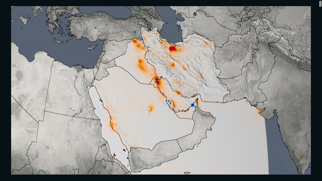 The trend map of the Persian Gulf shows the change in nitrogen dioxide concentrations from 2005 to 2014.