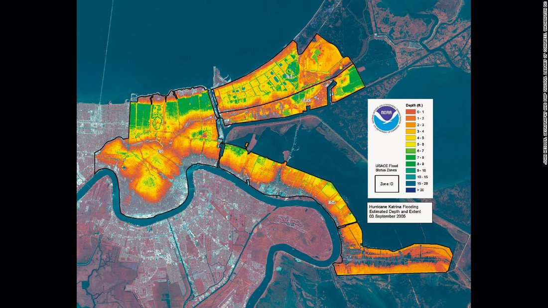 Maps have become part of the visual vocabulary of natural disasters. Satellite images and remote sensing data are critical sources of information for governments and relief agencies seeking to provide the quickest possible emergency response. This image displays, in striking color, the levels of flooding in New Orleans four days after hurricane Katrina made landfall on the Gulf Coast, causing the levees to fail, and exposing millions of residents to the effects of one of the costliest natural disasters in US history.