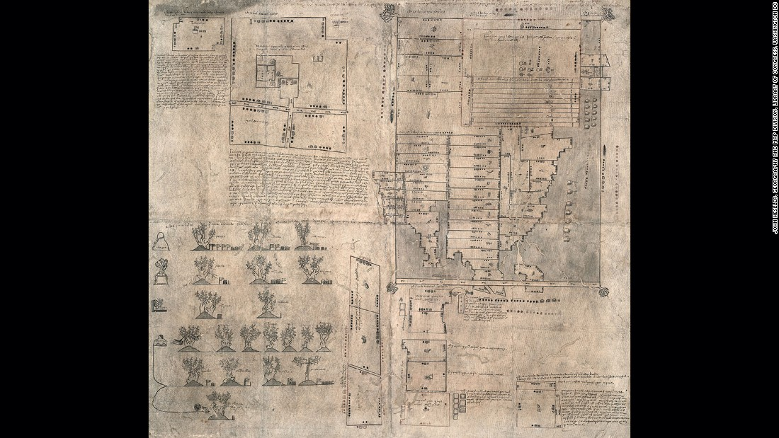 As one of the earliest surviving documents created after the Spanish conquest of the New World and authored by indigenous peoples, this map shows schematics of geographic regions, plans of buildings and views of orchards and is written both in Spanish and in the Aztec language, Nahuatl. Although the map relates the proceedings of a court case and is therefore a very bureaucratic document, it shows the universality of the cartographic form as a representation of lived space that transcends both cultures and times.
