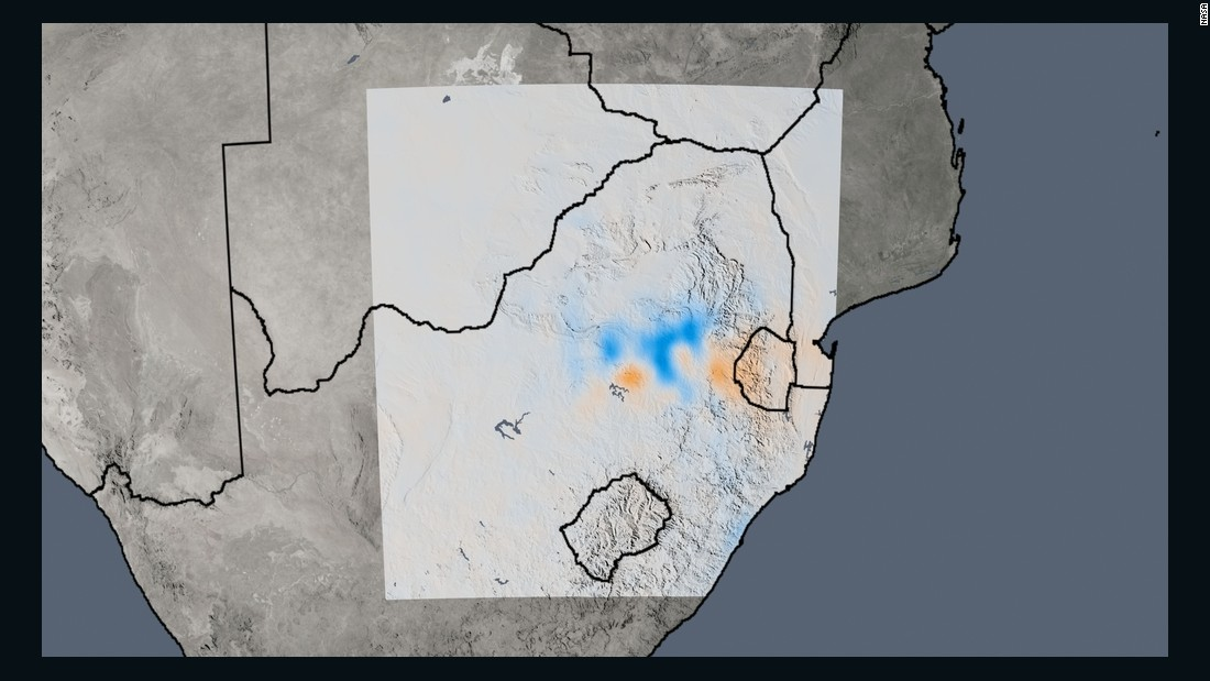 The trend map of South Africa shows the changes in nitrogen dioxide concentrations from 2005 to 2014. The South African region encompassing Johannesburg and Pretoria has the highest nitrogen dioxide levels in the southern hemisphere, but the map shows a complex situation playing out between the two cities and neighboring power plants and industrial areas, say the researchers.