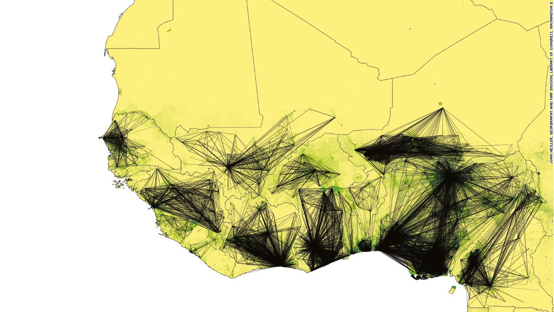 Although we tend to think of maps as images fixed in time, modern cartography has sought to represent events that are dynamic and not in equilibrium. This map uses location information taken from more than 150,000 cell-phones to show population movement of individuals in West Africa to help predict possible routes for the spread of Ebola during the epidemic of 2014. It is a typical example of how modern cartography has expanded its boundaries to map not only geographic but also social phenomena.