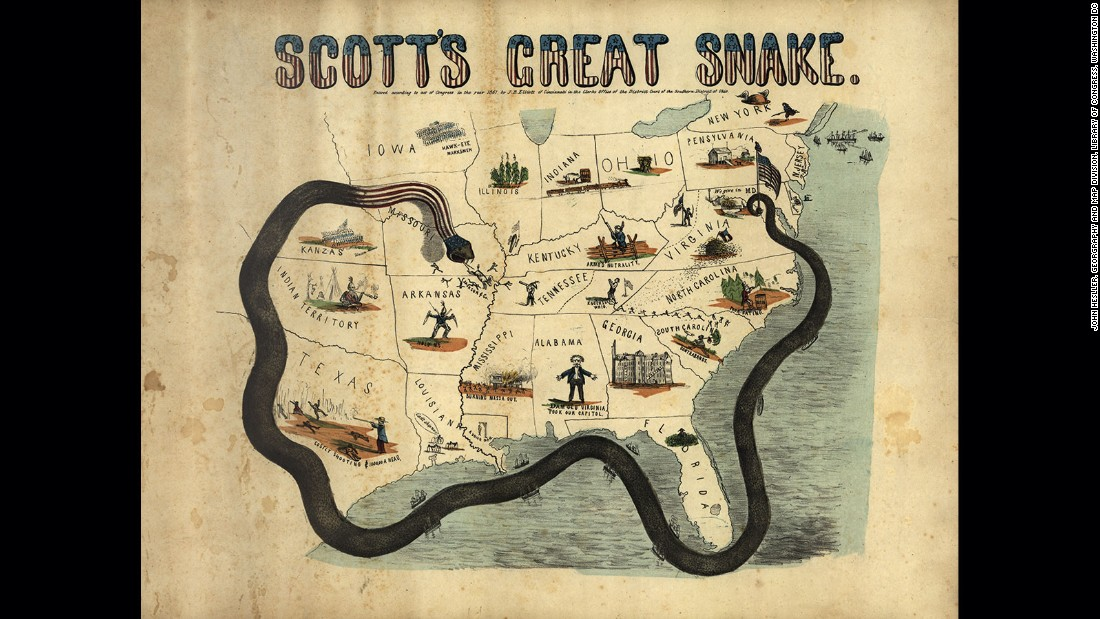 "The rhetorical power of cartography is often seen as the source of its popularity and the reason for its use in political imagery. This map shows, in the drawing of an anaconda, a representation of the Union's attempt to blockade the confederate states and to ""starve"" the South into surrendering during the US Civil War. Named ""the great snake"" for the inventor of the strategy General Winfeld Scott, it was credited it helping hasten the end of the war."