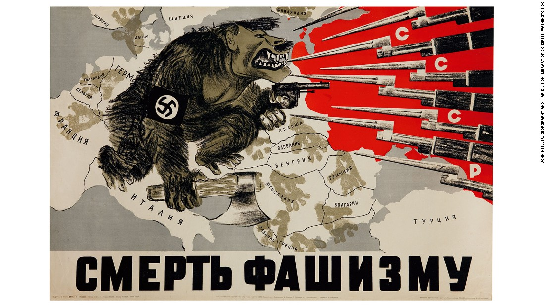 Immediately recognizable because of its striking graphic design and Soviet CCCP symbolism, this is one of the great propaganda maps made by artists shortly after Germany ended its nonaggression pact in the early summer of 1941, and crossed into Soviet territory with more than three-million troops. The image shows a monstrous Hitler (one should note the mustache and cropped hair) being held at pay by the well-equipped and better armed forces of the CCCP.