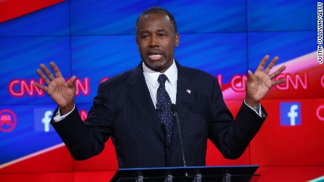 Republican presidential candidate Ben Carson speaks during the CNN Republican presidential debate on December 15, 2015, in Las Vegas.