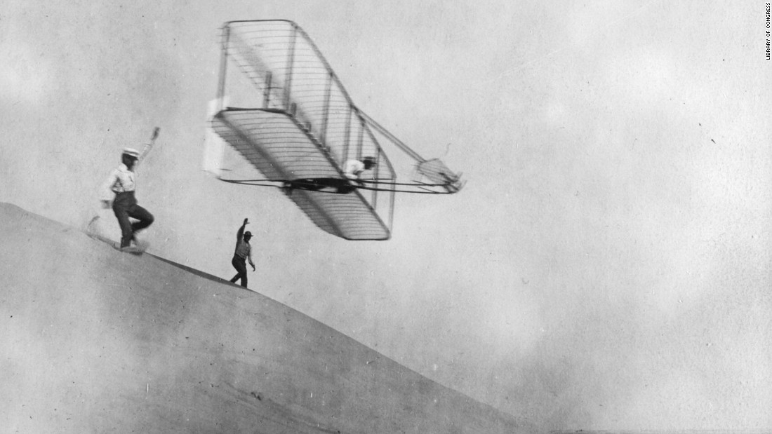 The Wrights conduct a gliding experiment in 1901.