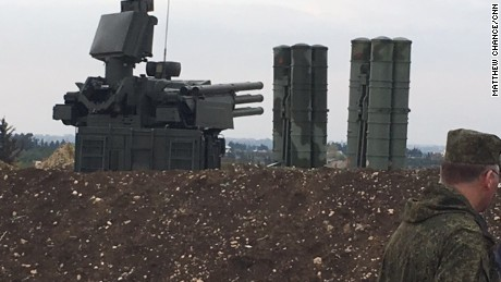 The S-400 missile system at the Russian Hmeymim airbase in Latakia, Syria
