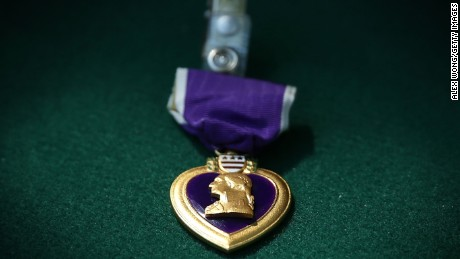A Purple Heart medal is awarded to those service members who were killed or injured while serving.