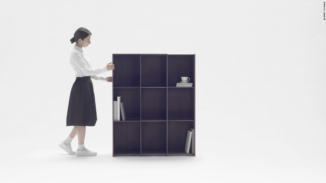 The shelf can slide to allow for more units, and allows the user to select the size required for the amount of space available.