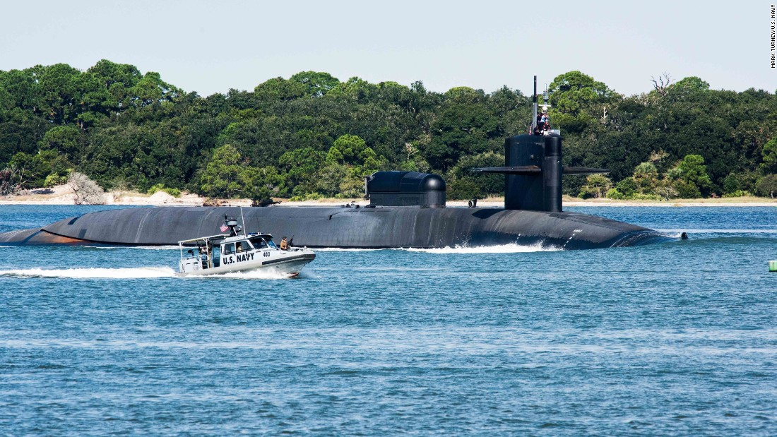 The Ohio-class guided-missile submarine USS Georgia (SSGN 729) departs Naval Submarine Base Kings Bay to conduct routine operations in October 2015. On November 25, the sub struck a buoy when returning to the base, forcing it into drydock for inspection.