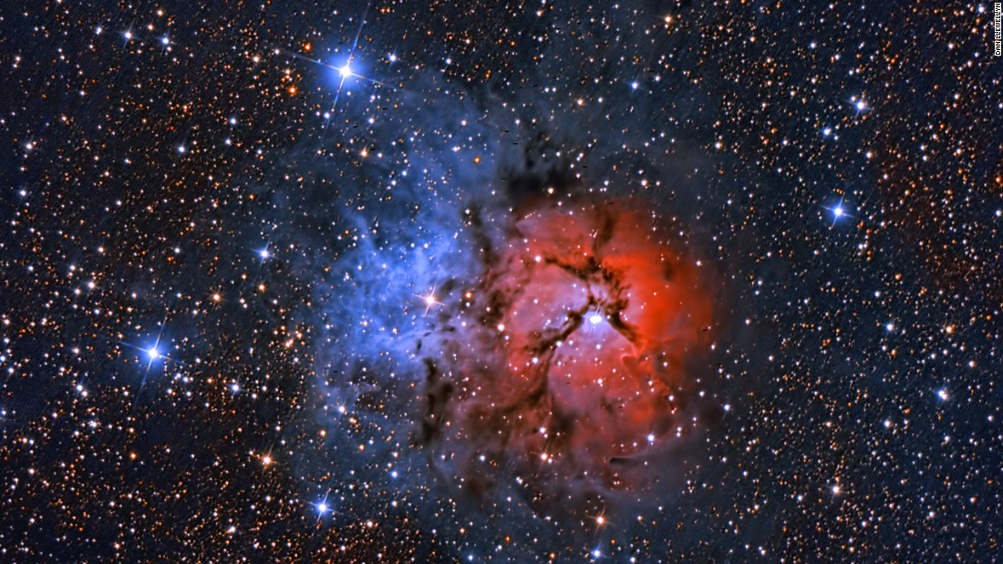 This is the Trifid Nebula, taken with a 12-inch Newtonian telescope in 2010 at the Deerlick Astronomy Village.