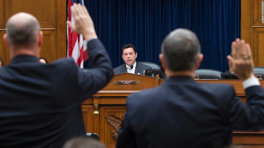 U.S. Rep. Jason Chaffetz, chairman of the House Committee on Oversight and Government Reform, swears in two Homeland Security officials to testify about terrorism safeguards on Thursday, December 17. The committee wants to ensure that would-be extremists are not exploiting a variety of legal paths to travel to the United States.