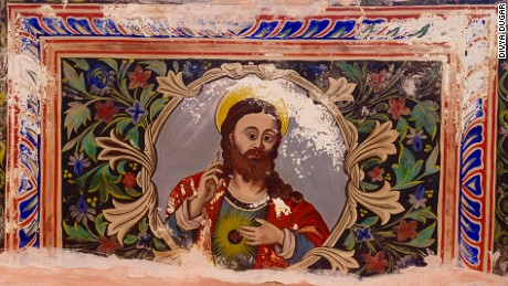 This fresco of Jesus Christ adorns the walls in the Kamal Morarka Haveli Museum.