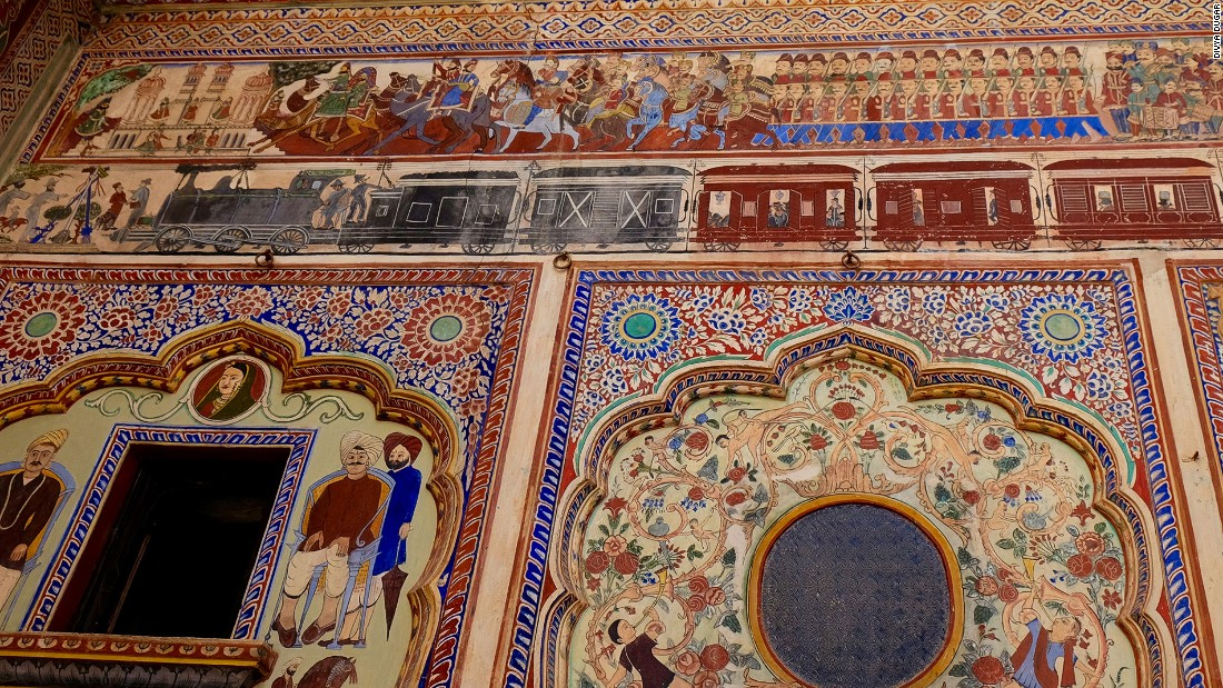 At the Dr Ramnath A Podar Haveli, the frescoes cover more than 11,200 square meters.  Nawalgarh has one of the highest concentrations of painted havelis in the region -- close to 200.