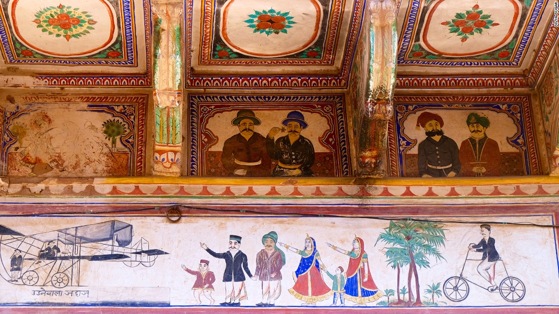 A more elegant way to show off your travel memories than Facebook? This mural shows a family seeing off a plane, showing the advent of East-meets-West influence in Mandawa.