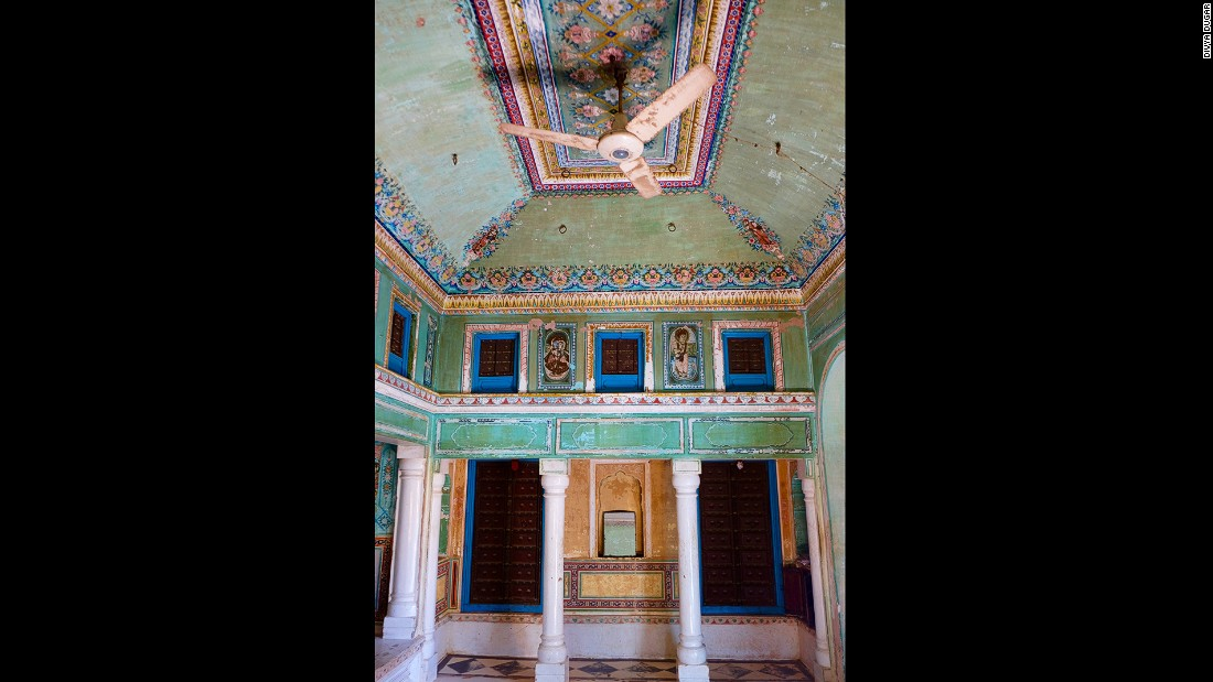 There's no room for wallpaper in a building where paintings cover the interior from ceiling to floor. The common room here was once used to conduct business at Snehi Ram Ladia Haveli.