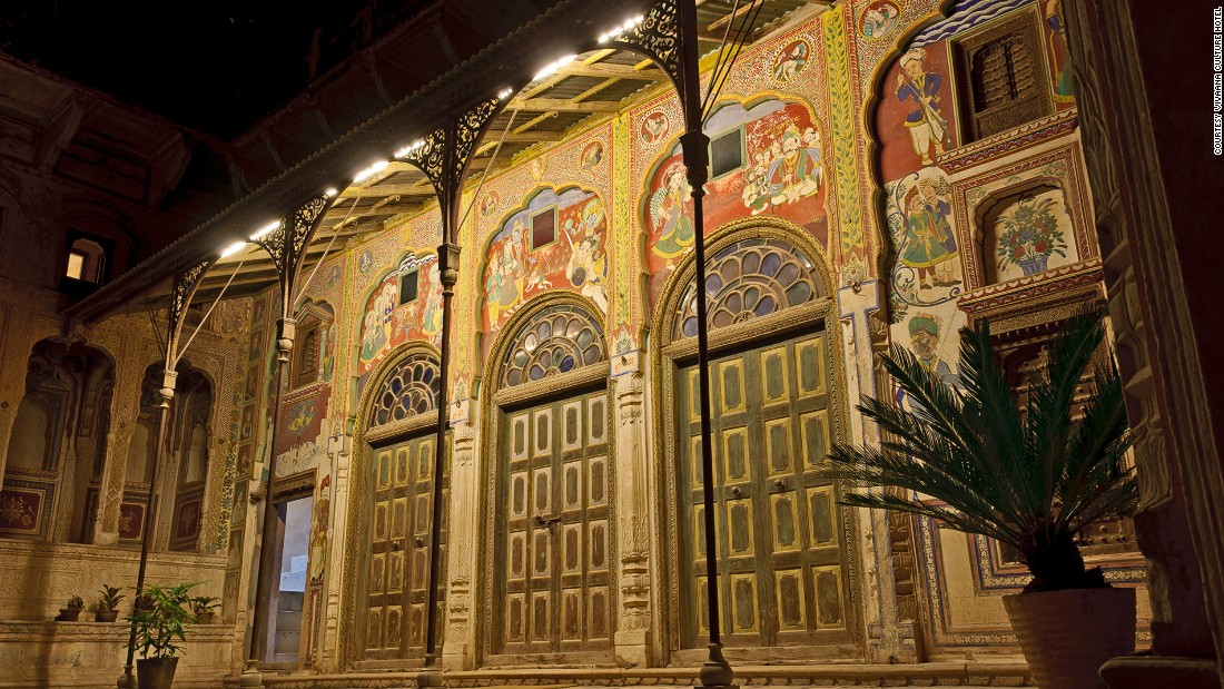 It took Vivaana Culture Hotel owner Atul Khanna five years to obtain the two havelis and another three years to restore them. The result is a hotel filled with exquisite murals and well-preserved original features.