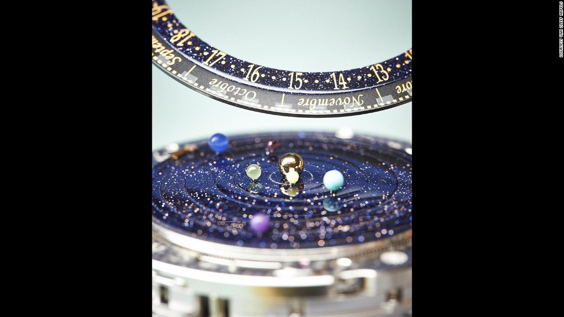 This watch displays the sun in the center, with small representations of planets in orbit around it.