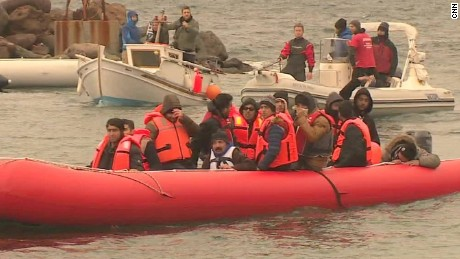 Refugees flee to Greek island