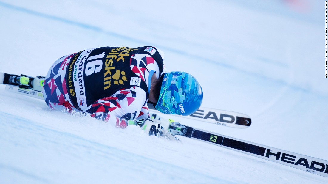 Matthias Mayer of Austria was airlifted to hospital after crashing out of the men's downhill on Saturday.