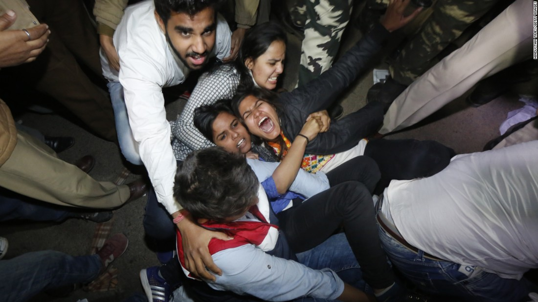 Delhi police detain activists who were protesting  in New Delhi on Sunday against the release of the convict in the 2012 gang rape case.
