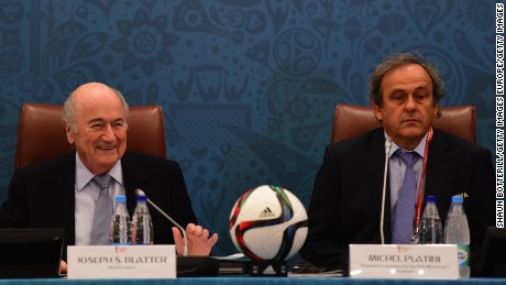 SAINT PETERSBURG, RUSSIA - JULY 25:  FIFA President Joseph S. Blatter and UEFA President Michel Platini look on during the Team Seminar ahead of the Preliminary Draw of the 2018 FIFA World Cup at the Corinthia Hotel on July 25, 2015 in Saint Petersburg, Russia.  (Photo by Shaun Botterill/Getty Images)