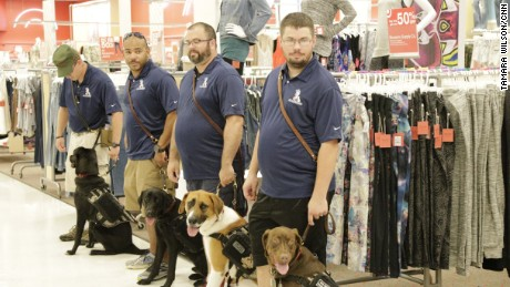 Veterans in training under the K9s for Warriors program