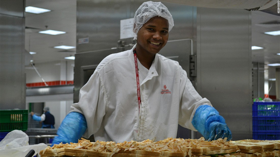 The Emirates Flight Catering facility in Dubai is one of the world's largest airline food facilities, preparing up to 180,000 meals every day.
