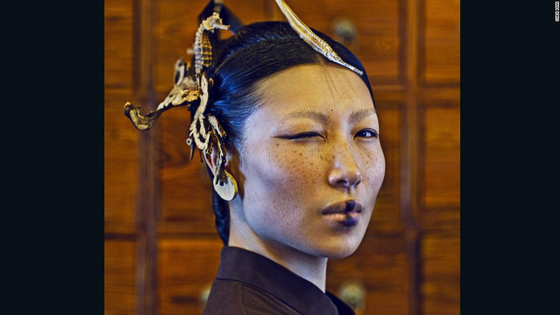 This portrait, entitled 'Chinese Medicine' was shot in 2012 for i.D. The series depicted China's ethnic minorities.