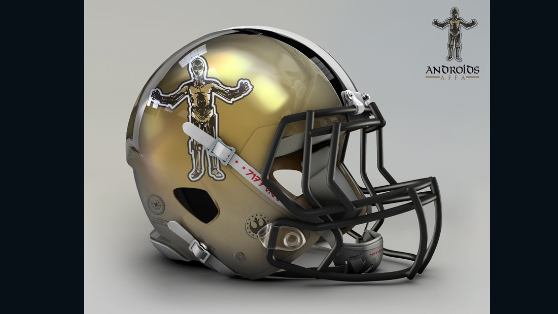 """The easiest way to create a new fusion for the logo is the color code, and each one has a close approximation with the star wars world,"" says Raya. That's why the golden <a href=""http://www.neworleanssaints.com/"" target=""_blank"">New Orleans Saints</a> needed just a quick transition to become the Androids, modeled after C-3PO."