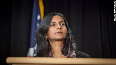 Kshama Samant delivering her inauguration speech in January 6, 2014.