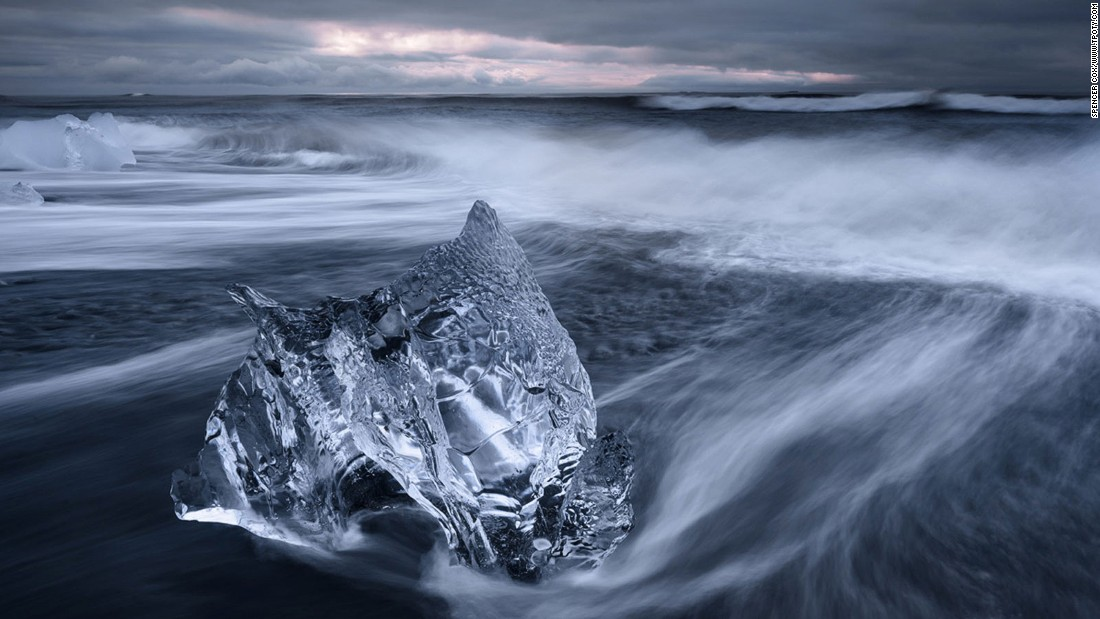American Spencer Cox, 18, was named Young Travel Photographer of the Year (ages 15 to 18) for a series of atmospheric images of Iceland, including this chunk of ice on Jökulsárlón beach. (Photo:  Spencer Cox/www.tpoty.com)