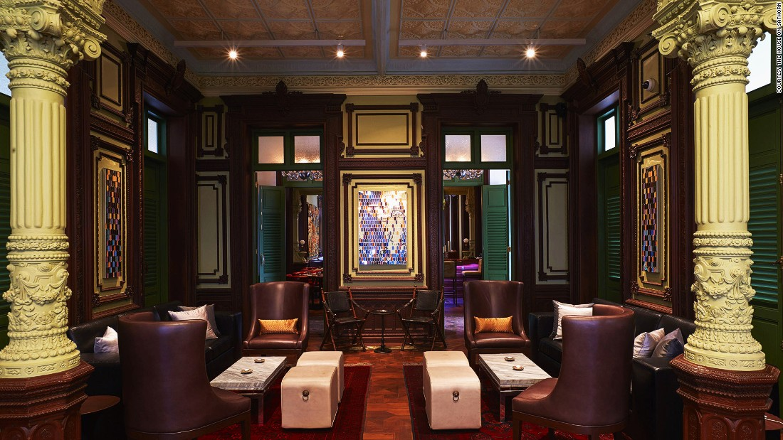 Where Russian and Thai royal glamor meets: The Bar, part of W bangkok next door, is housed in a 126-year-old colonial mansion.