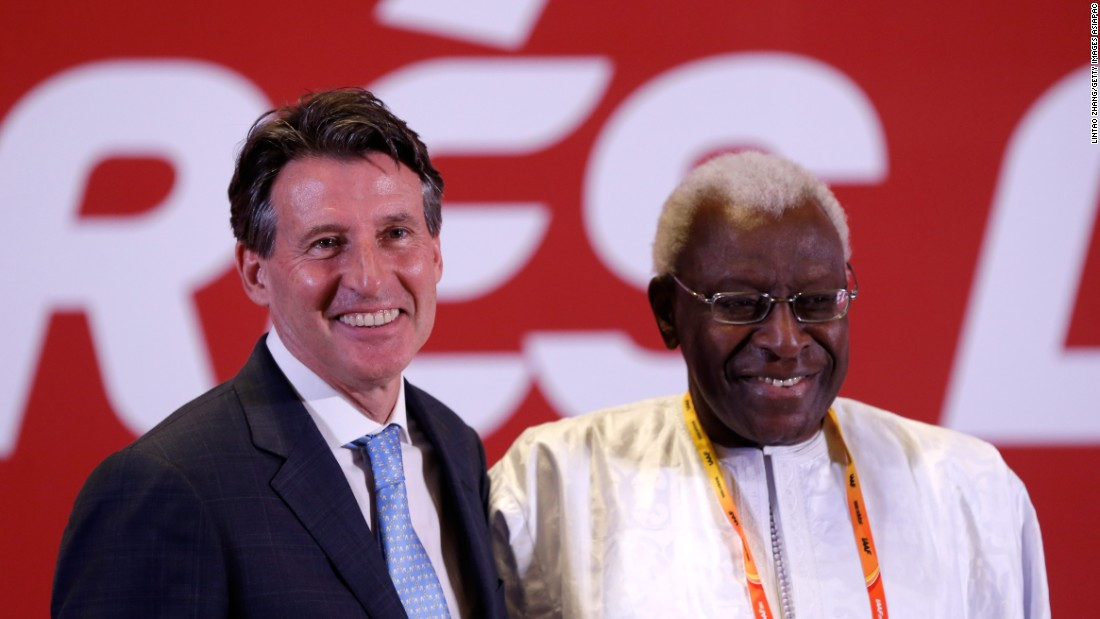 Davies' 2013 email was sent to Papa Massata Diack, who was then the IAAF's Marketing Consultant. The Senegalese is son of Lamine Diack (pictured here on the right), who governed the IAAF from 1999 to 2015 before handing over the reins of power to incumbent Sebastian Coe in August.