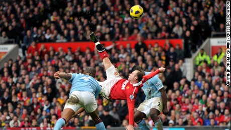 "Manchester United's Wayne Rooney's overhead ""bicycle"" kick goal in 2011 is often listed among the best in English Premier League history."