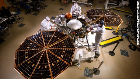 Workers assemble NASA's InSight lander at Lockheed Martin Space Systems, Denver.