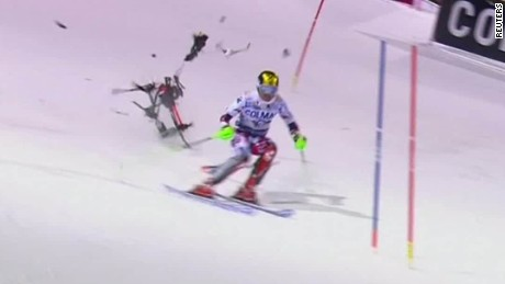 Falling drone misses skier by inches