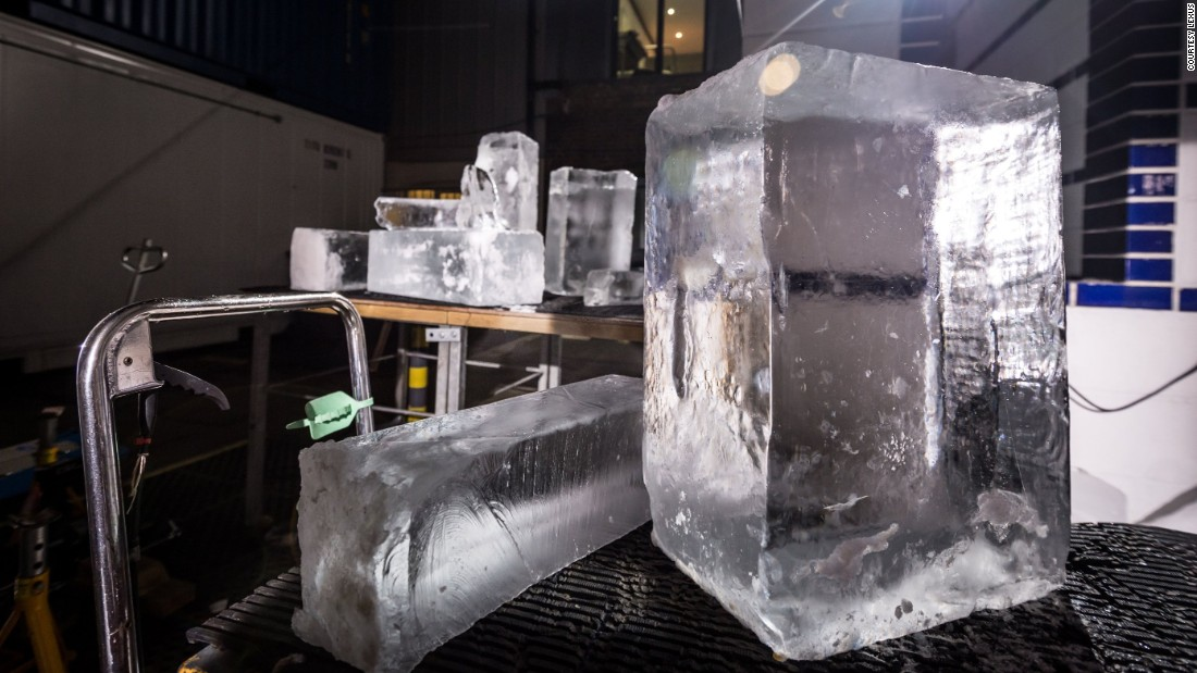 These crystal clear ice blocks used for the wheels are made by freezing softened water taken from a running source.