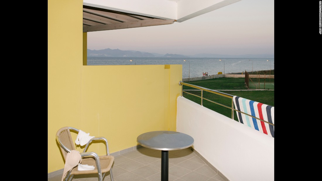 Views of the Turkish mainland can be seen from the balcony of a Kos hotel. The island has always been a popular vacation spot for northern Europeans, according to photographer Jörg Brüggemann.