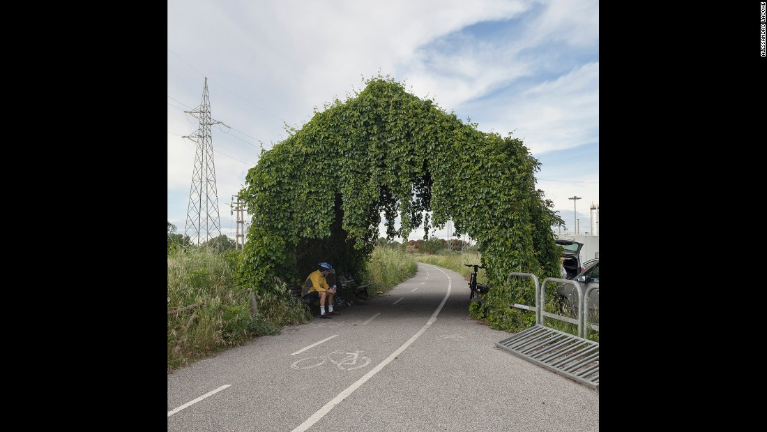This is the south entrance to the Tiber Cycling Lane, a 33-kilometer (20.5-mile) path that cuts through Rome.