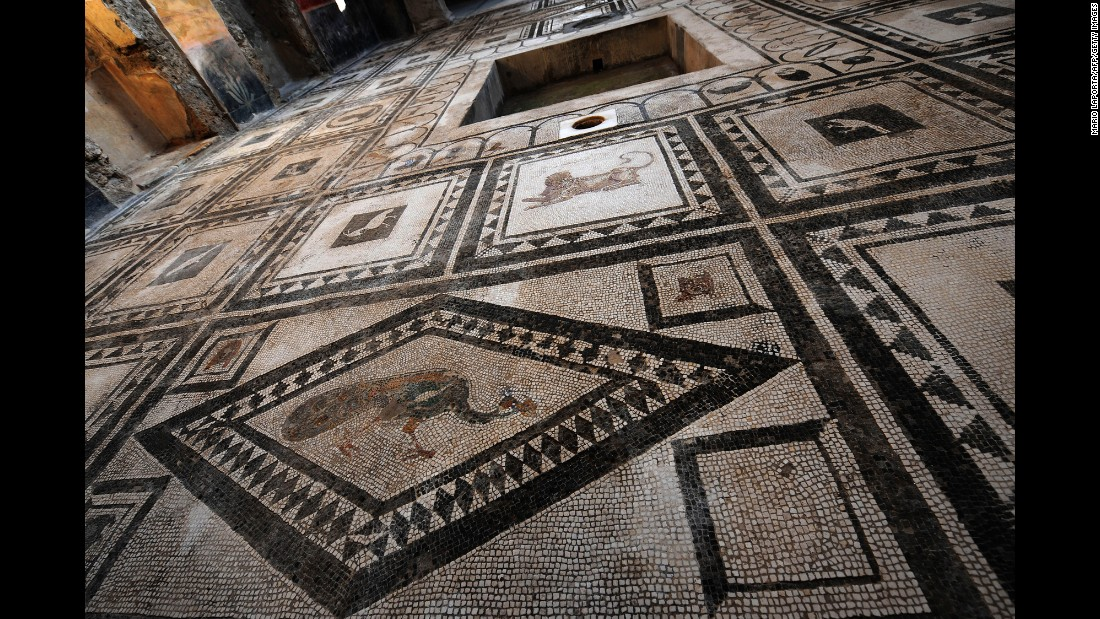 A floor covered with mosaics is seen inside the Pacuius Proculus Domus.