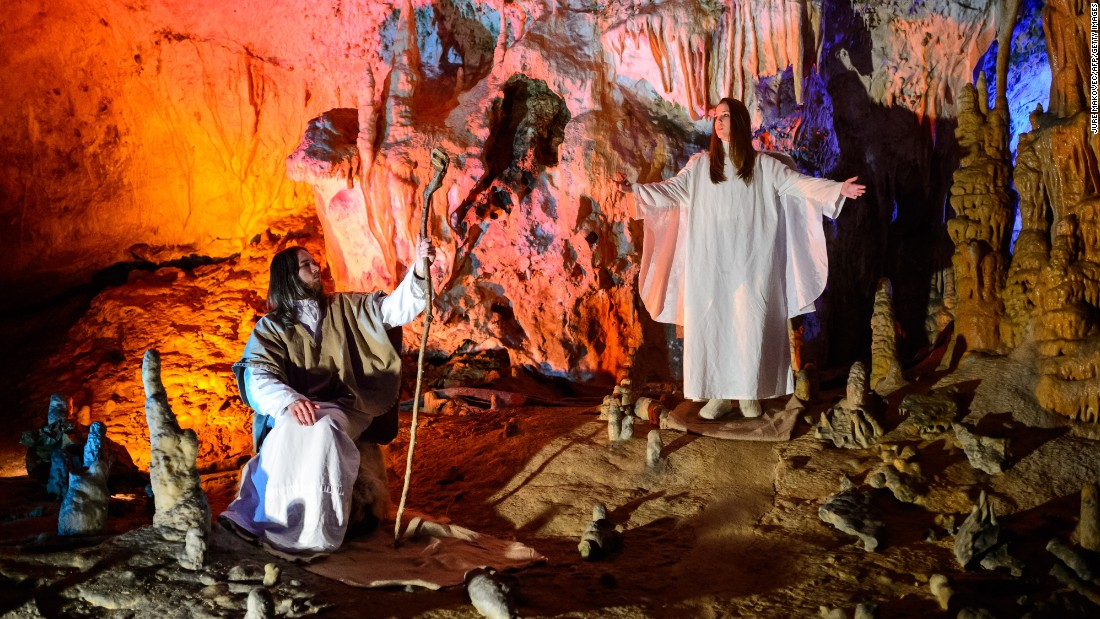 Amateur actors perform during a live nativity scene in Postojna Cave in Postojna, Slovenia, on Christmas Day. Some 500 performers participated in the biggest live nativity scene in the cave.