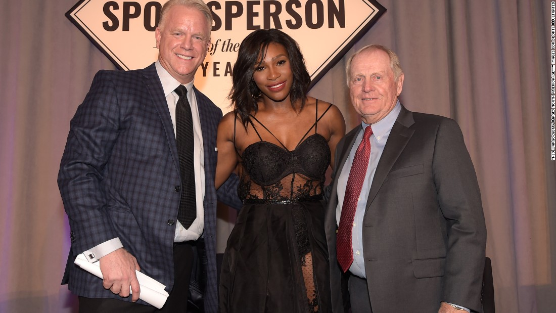 Nicklaus was honored with Sports Illustrated's Muhammad Ali Legacy Award in New York on December 15, 2015, while Serena Williams was named the magazine's Sportsperson of the Year. They are pictured with NFL legend Boomer Esiason.