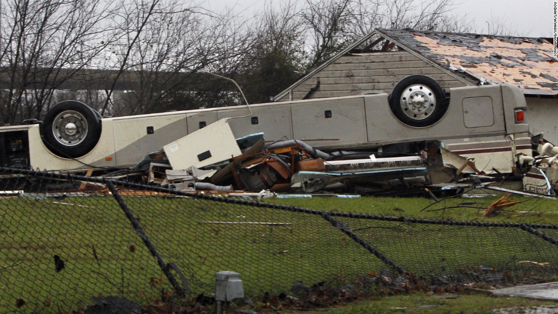 A bus is overturned in Garland on December 27.