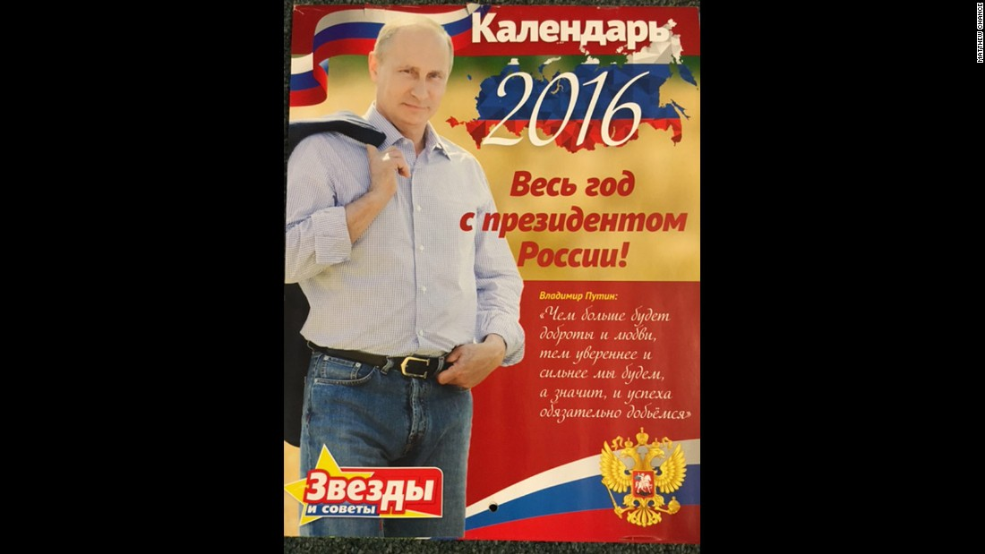 "A Russian paper has published a 2016 calendar featuring photos of Vladimir Putin and quotes from the Russian president. The cover: ""The more kindness and love there will be, the more confident and stronger we will be. And it means we will definitely succeed!"""