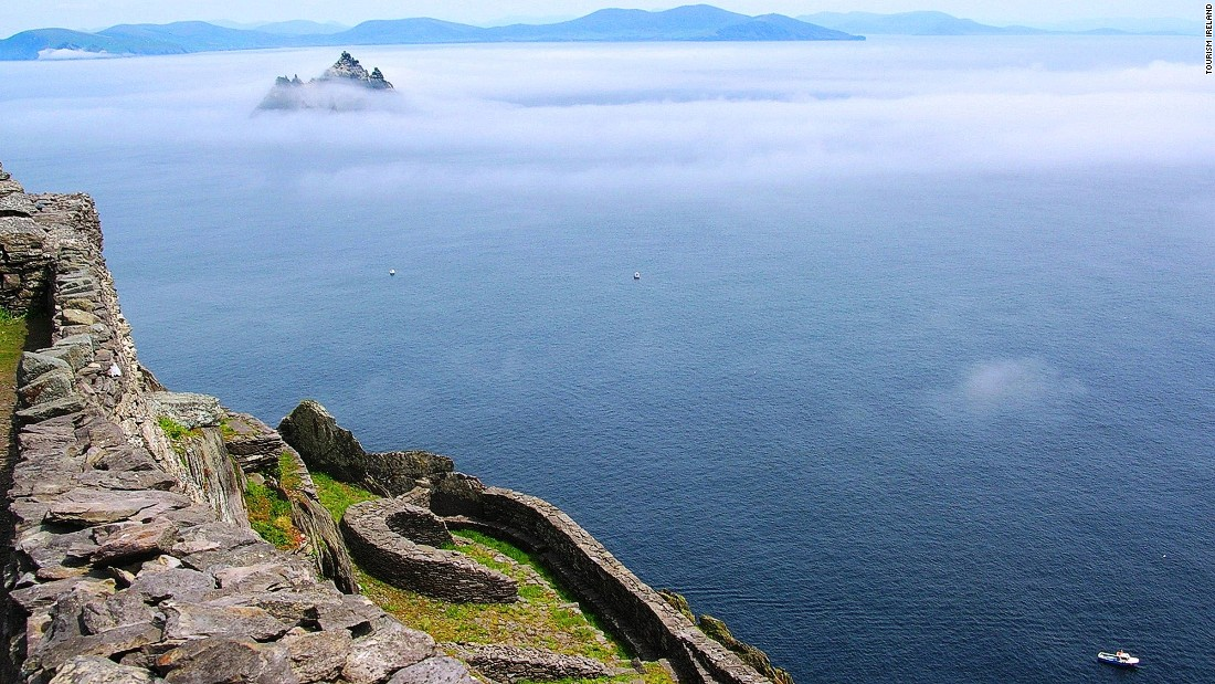 This photo, taken from Skellig Michael, shows Little Skellig rising from the mist. The two dramatic sea crags are located 12 kilometers west of Ivereagh Peninsula in Ireland's County Kerry.